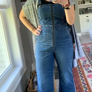 Hollister cropped zip front overalls